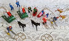 21 VTG Miniature Fowind Plastic Figures Sled Skater Ski Hong Kong Christmas Putz