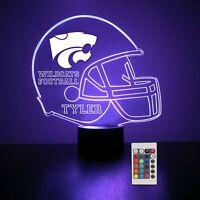 Kansas State Personalized Night Light Lamp NCAA College Football Gift Light LED