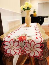 """Christmas Flower Table Runner 16"""" X 72"""", White"""