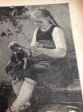 Ephemera Book Plate 1911 Girl Does Doll's Hair 7x5 Inch Approx M47421