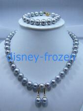 AAA 9-10mm NATURAL SOUTH SEA gray PEARL necklace bracelet earrings sets 14k gold