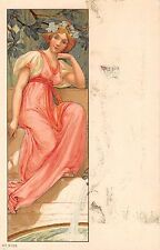 c.1910 unsgd. Art Nouveau Girl Sitting by Fountain post card