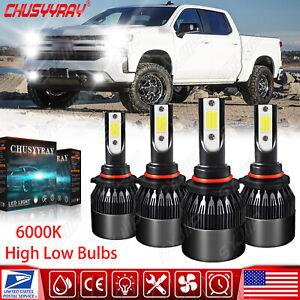 For 1999-2005 GMC Sierra 1500 2500 9006+9005 4x LED Headlights Kit High&Low Beam
