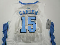 VINCE CARTER / AUTOGRAPHED NORTH CAROLINA TAR HEELS WHITE PRO STYLE JERSEY / COA