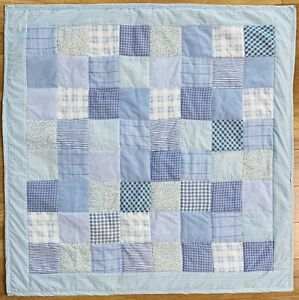 "Baby Boy Quilt Handmade Blue Patchwork Crib Blanket 40""x40"" NEW"
