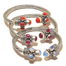 For Sale !! Lot 5 PCs. Red Coral & Opalite Sterling Silver Plated Cuff Bracelet