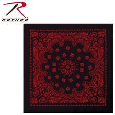 "Large Black / Red Trainmen Bandana 100% Cotton (27""x 27"") Rothco 4349"