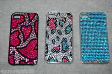 iPhone 4 /4S Hard Case 3 LOT Rhinestone Covered TURQUOISE Pink Hearts LEOPARD