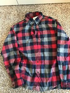 Men's Goodfellow Flannel Oxford Shirt Red Plaid Size L Large