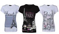 Ladies Paris Slogan Print Round Neck Short Sleeve Womens Tee Top T-Shirt