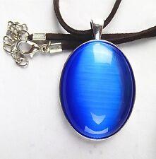blue oval Cat Eye Stone set Tibetan silver pendant 18inch 50x33x8mm  BD234