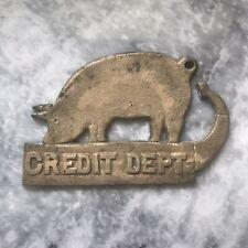 Vintage Antique Brass Credit Department Sign Brass Pig Sign Plaque