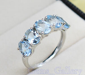 Solid 925 Sterling Silver Natural Aquamarine Gemstone Engagement Ring For Women
