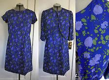 Vtg Silk Sophy Curson 50s 60s 1950 1960 Dress Jacket Set Floral Blue Green  M L