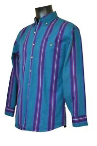 Vintage Loafers Reed ST Stripped Long Sleeve Turquoise Blue Stripes Casual Shirt