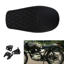 New Black Soft Leatherette Motorcycle Cafe Racer Seat Cushion Saddle Waterproof