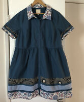 Womens Mod Cloth Blue Floral Button Front Collared Dress Plus Size 3X