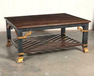 A Las Palmas Design 'Grille' Parcel Gilt and Ebonized Coffee Table