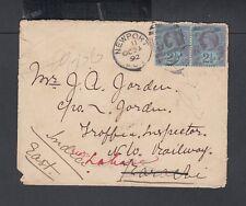 UK 1892 2 &1/2D PAIR ON COVER NEWPORT DUPLEX TO KARACHI INDIA VIA SEAPOST OFFICE