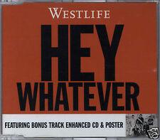 WESTLIFE - HEY WHATEVER / SINGING FOREVER 2003 EU ENHANCED CD SINGLE W/POSTER
