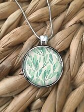 Green Blue Leaves Leaf Pattern Spring Pendant Silver Chain Necklace Gift NEW