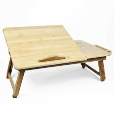Bamboo LAPTOP TABLE Adjustable Stand Folding Wooden Breakfast in Bed Tray Desk