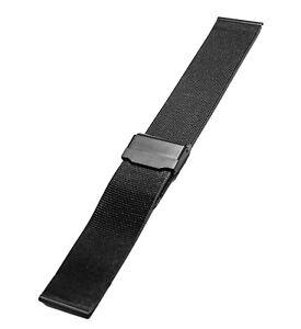22mm Men's/Women's Stainless Steel Black Mesh Sports Watch Bracelet watch Band
