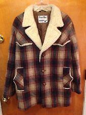 Vintage Pioneer Wear Men 40 M Brown Plaid Wool Coat Jacket sherpa collar padded