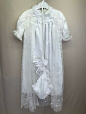 Sears Baptism Christening Gown Outfit Dress Lace Coat Booties Bonnet Size 14lb