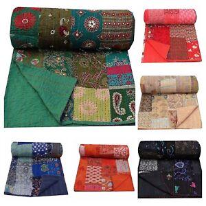Vintage Patchwork Kantha Handmade Embroidery Blanket Throw Bedspread 150cm×225cm