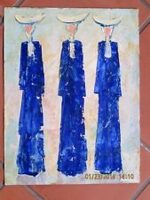 ADOLPH DEHN EXPRESSIONIST STYLE OIL ON PAPER LISTED ARTIST THREE BLUE NUNS