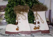 Schlittschuh  Winter Deko Weihnachten Holz Shabby Chic Vintage Landhaus weiss