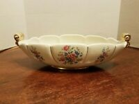ABINGDON USA ART POTTERY PLANTER FLOWER POT CONSOLE BOWL WHITE FLORAL GOLD #532