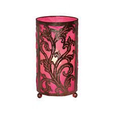 LARGE Pink Bedside Fabric Lamp Hand Carved Metal Leaf Design Fair Trade