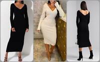 Womens Knitted Long Sleeve V Neck Bodycon Ladies New V Back Midi Maxi Dress 8-14