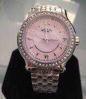 Ladies Genuine Rotary Mop Pink Designer Dress Watch Crystal Large Roman