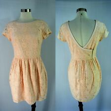 H&M CONSCIOUS COLLECTION Mini Dress 10 M Pink Lace Organic Cotton Metal Zipper