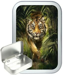 Tiger Jungle Hinged Tin Gift Box, jewellery, Wedding, Birthday Gift Box