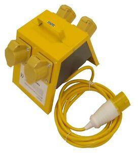 4 Way Splitter Junction Box 110 V Volt 4 X 16 Amp Gang & Cable 110V For Site NEW