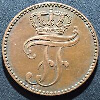 Old Foreign World Coin: 1858-A German States Mecklenburg-Schwerin 3 Pfennig
