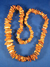 """Estate Found Long Natural Chunky Baltic Butterscotch Amber Rough Necklace 26"""""""