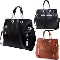 Womens Leather Messenger Shoulder Bag Handbag Crossbody Purse Tote Black Brown