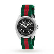 GUCCI GG2570 Black Dial Red Green Stainless Steel Nylon Men's Watch YA142305