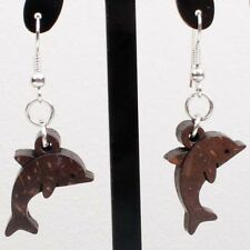 Brown Coconut Shell Dolphin Carved Bead Dangle Earrings