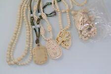 5 Vintage Antique  Bovine Bone Necklace Pendant Carved elephants butterfly deer