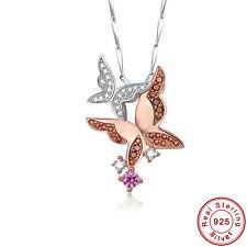 Free Box & Chain Women Butterfly Garnet Pink Topaz S925 Sterling Silver Pendant