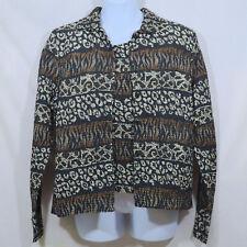 Women's M Mirasol Pretty Brown, Black, White 2-Piece Crinkle Fabric Shirt & Tank