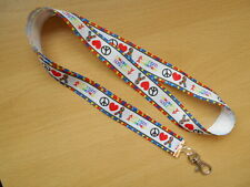 Peace Love Autism Awareness Lanyard Puzzle Whistle Key ID Aspergers Handmade