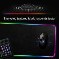 US Large LED Colorful RGB Lighting Gaming Mouse Pad Keypad Mat For PC Laptop USB