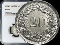 1954 B Switzerland 20 Rappen - NGC MS62 Key Date (BU / UNC)